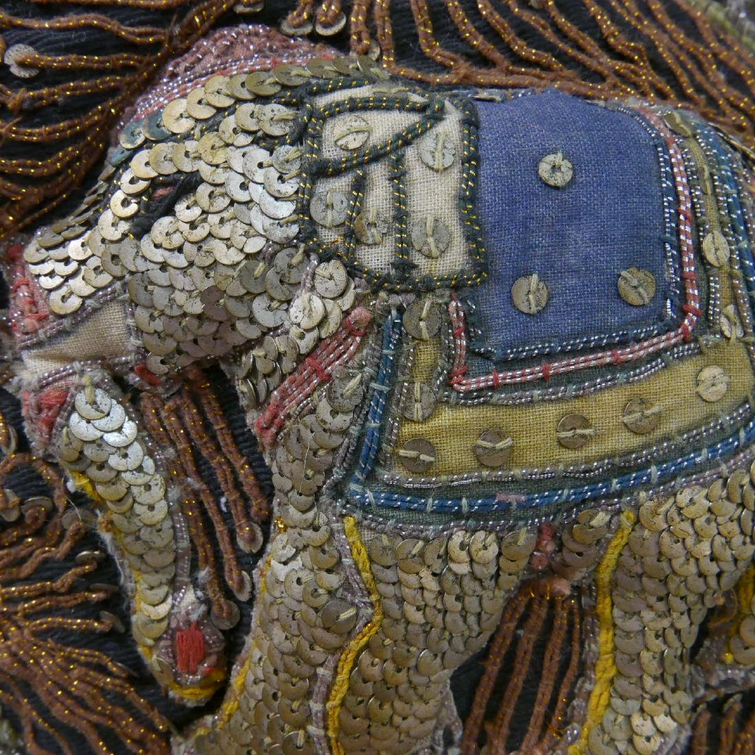 ANTIQUE INDIAN ELEPHANT EMBROIDERY - 6