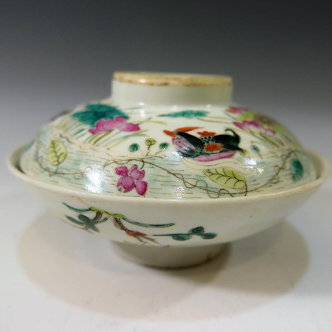 CHINESE ANTIQUE FAMILLE ROSE COVER BOWL