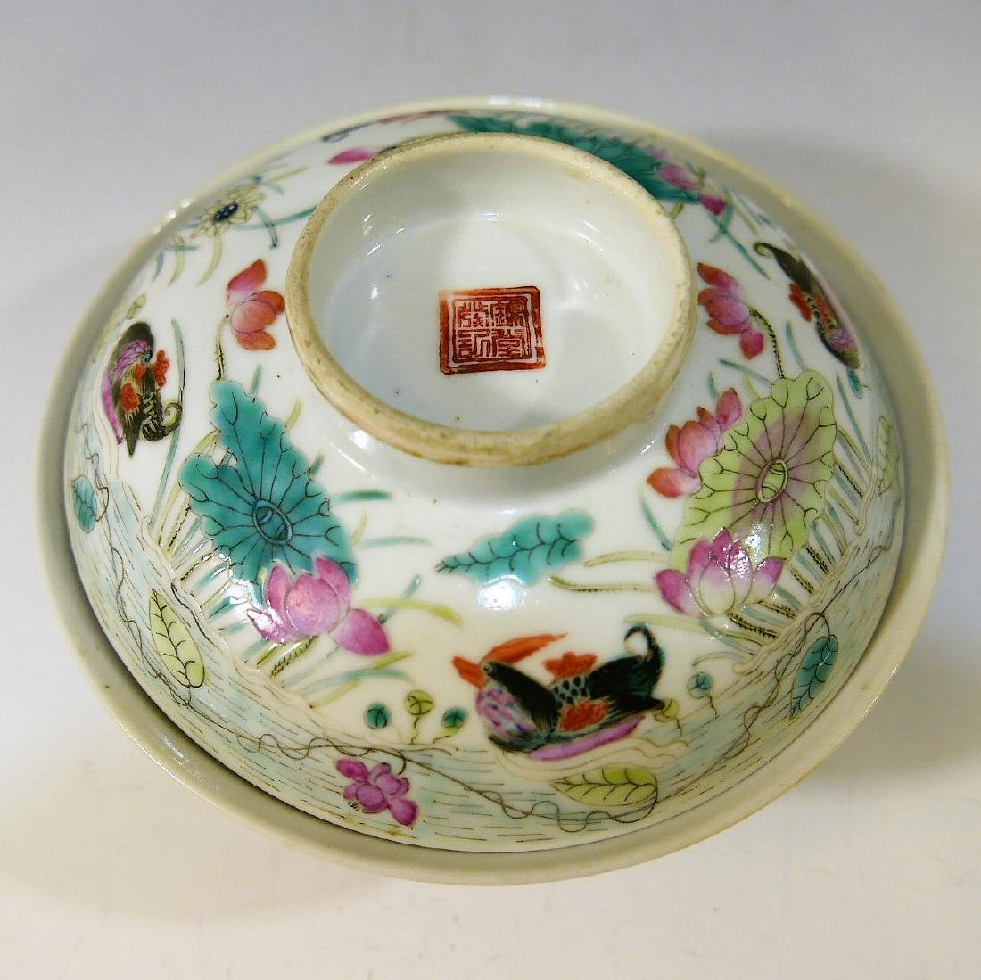 CHINESE ANTIQUE FAMILLE ROSE COVER BOWL - 2