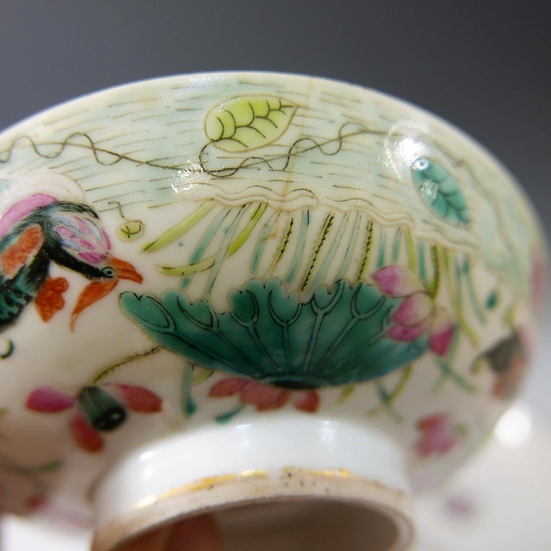 CHINESE ANTIQUE FAMILLE ROSE COVER BOWL - 5