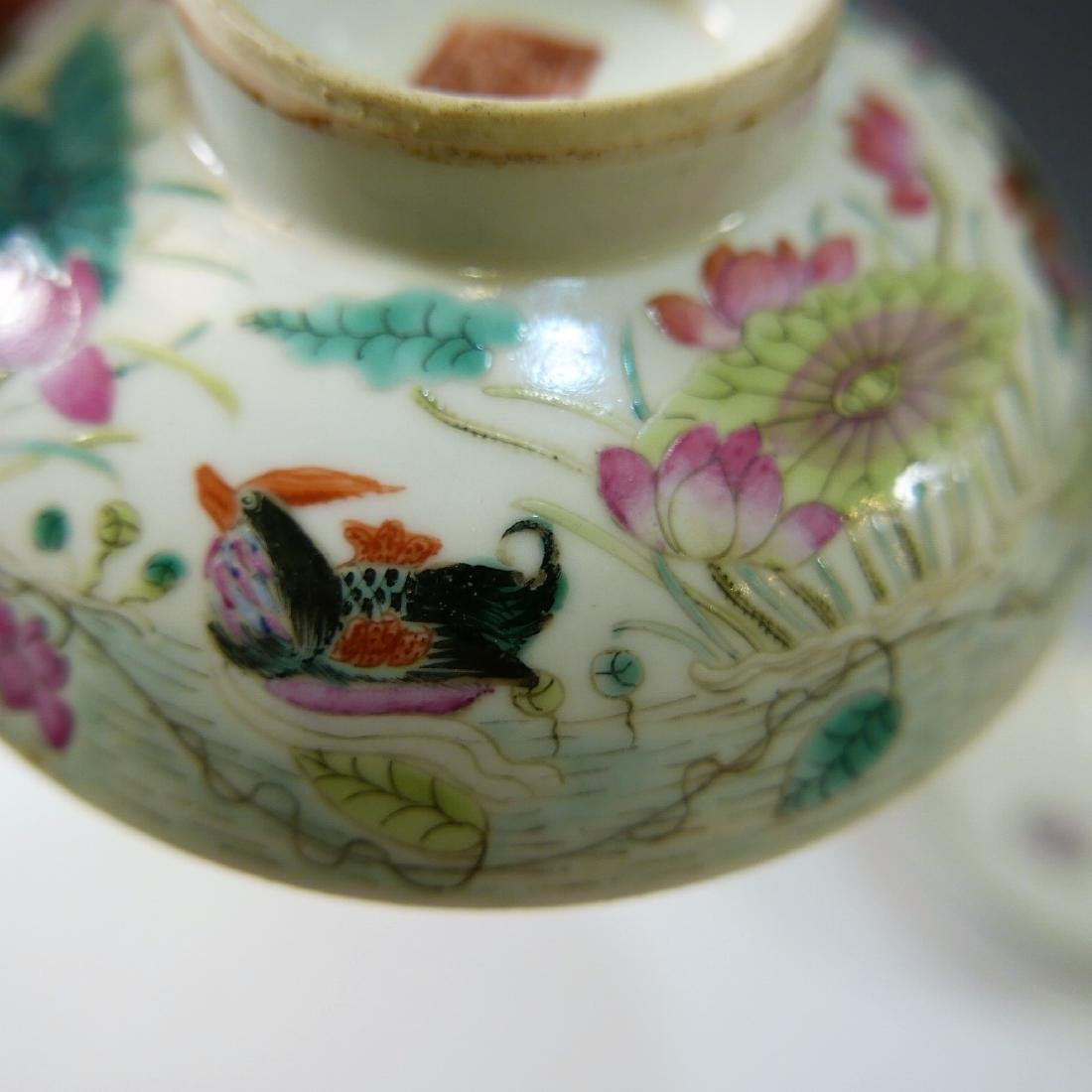 CHINESE ANTIQUE FAMILLE ROSE COVER BOWL - 6