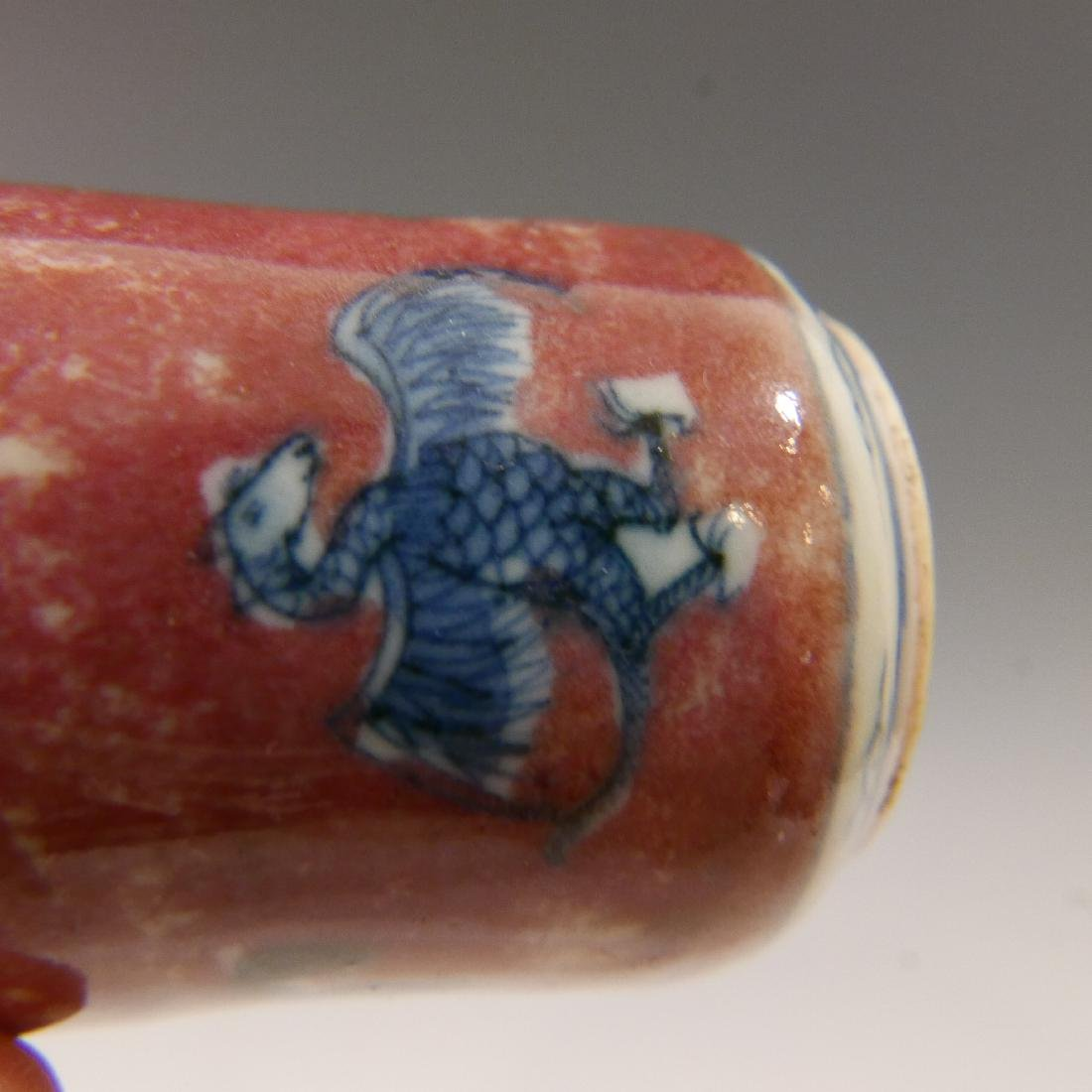 CHINESE ANTIQUE SNUFF BOTTLE - BLUE WHITE & COPPER RED - 5