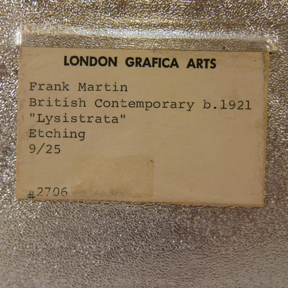 "FRANK MARTIN (BRITISH B.1921), ""LYSISTRATA"" ETCHING ON - 7"