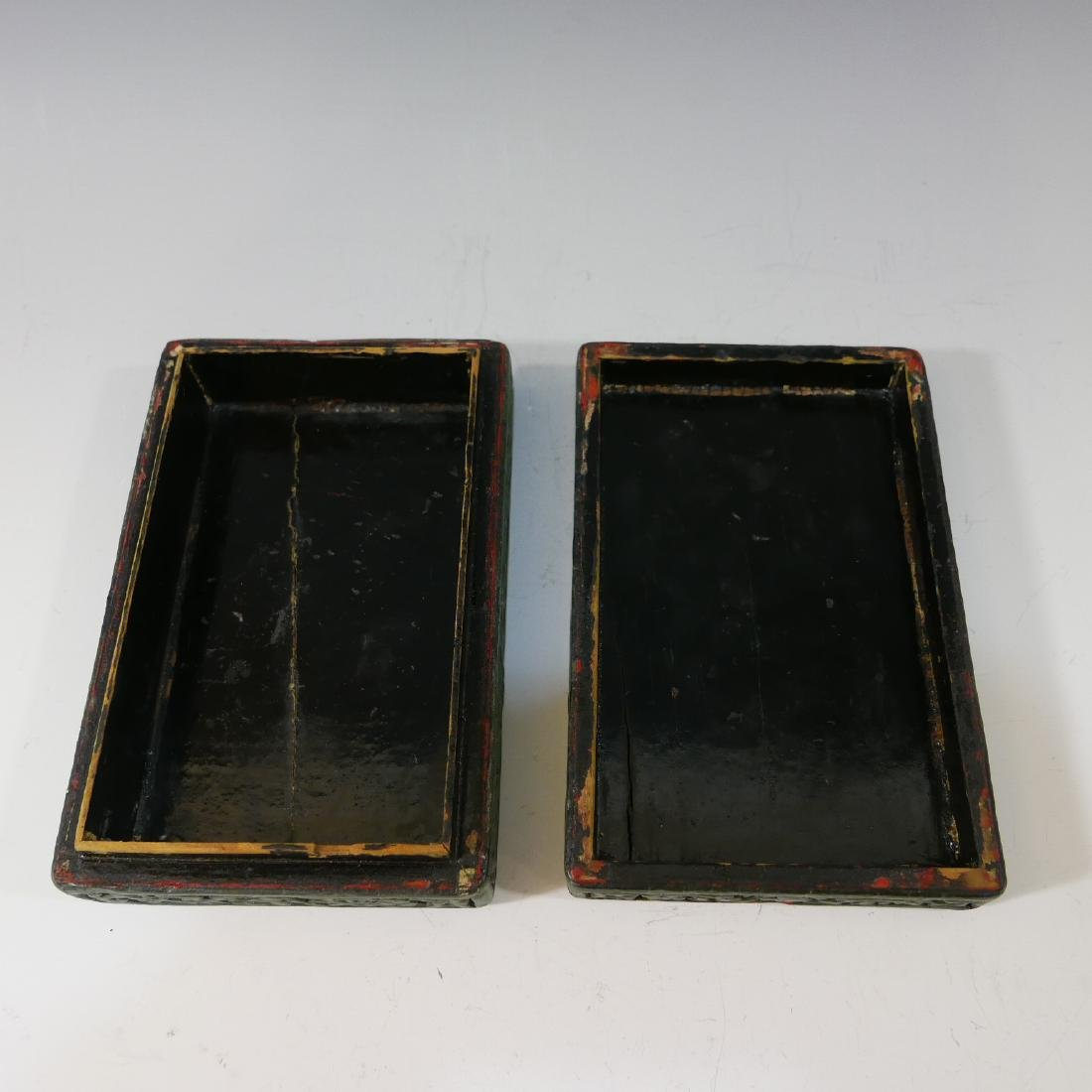 CHINESE ANTIQUE CARVED LACQUER CINNABAR BOX - 19TH - 4
