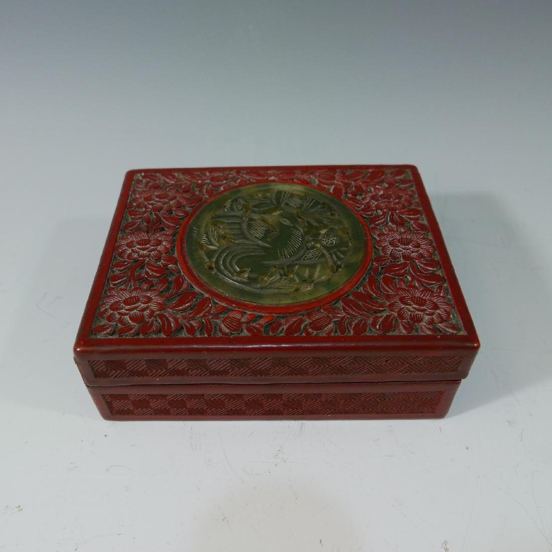 CHINESE ANTIQUE CARVED LACQUER CINNABAR BOX - 19TH