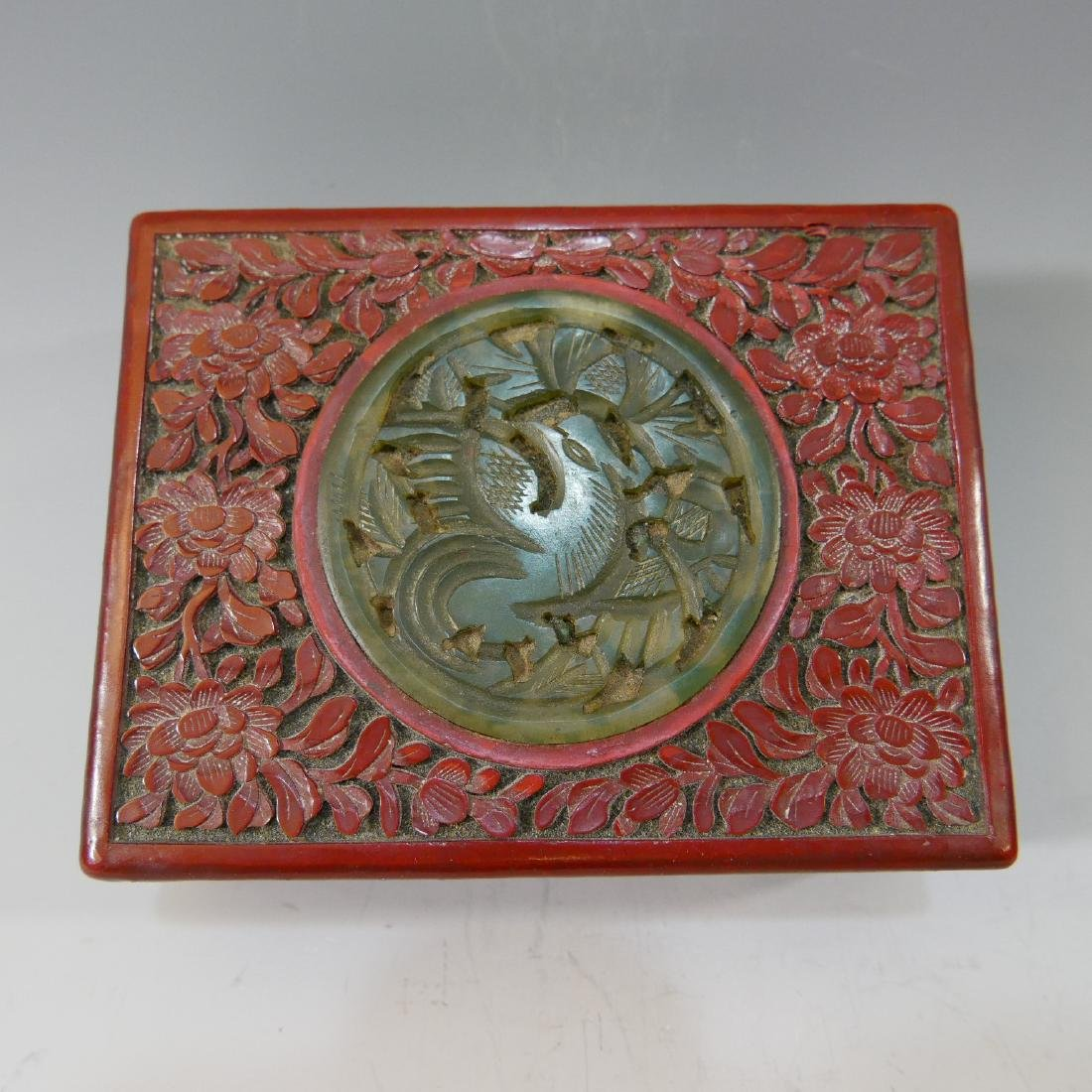CHINESE ANTIQUE CARVED LACQUER CINNABAR BOX - 19TH - 2