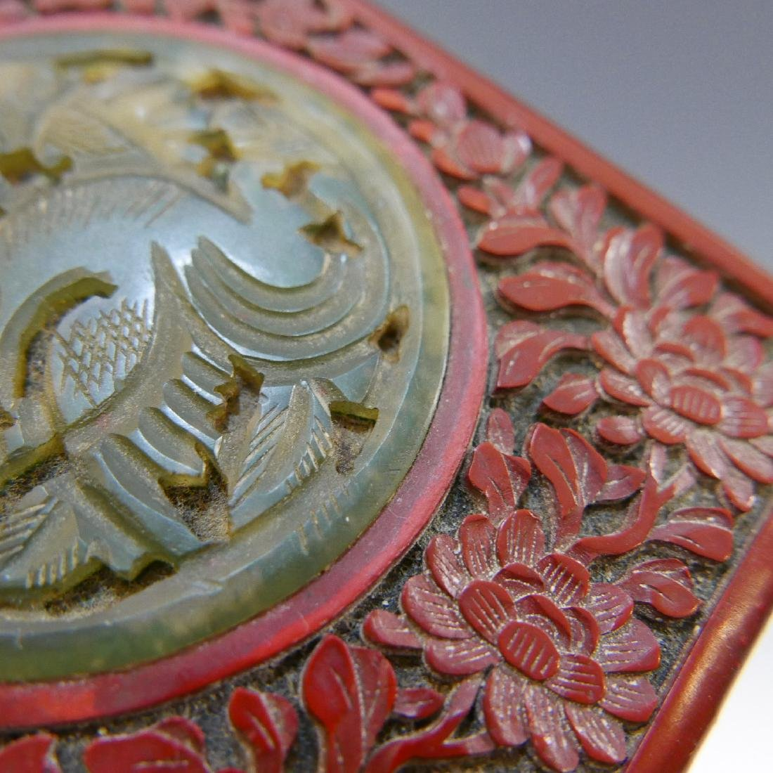 CHINESE ANTIQUE CARVED LACQUER CINNABAR BOX - 19TH - 5