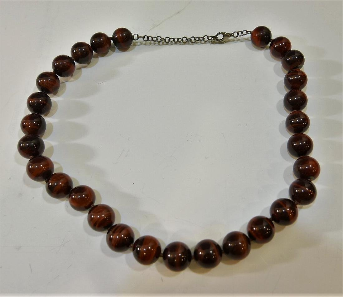 LARGE CAT'S EYE BEADS NECKLACE