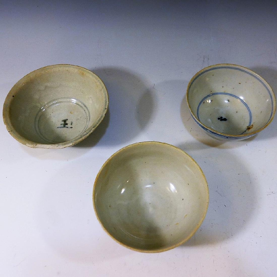 3 CHINESE ANTIQUE BLUE WHITE PORCELAIN BOWL - MING - 2