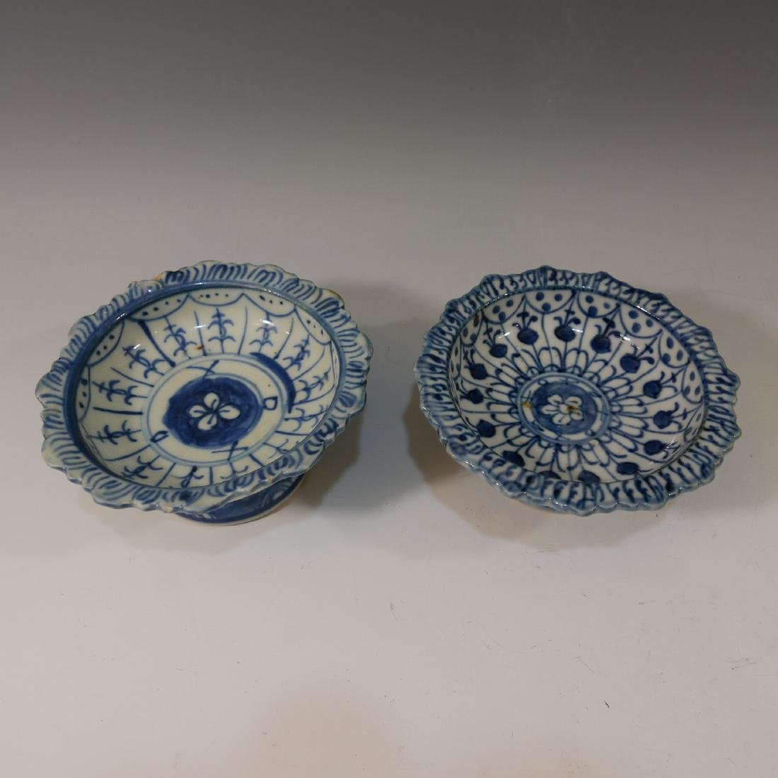 2 CHINESE ANTIQUE BLUE WHITE PORCELAIN TAZZA - MING