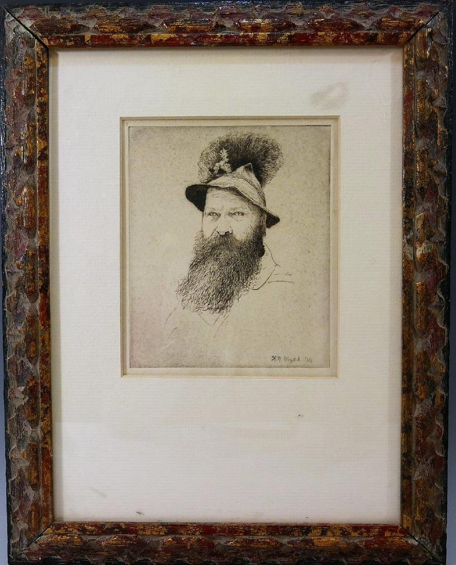 """L.N. VOGEL, ETCHING ON PAPER """"BUST OF A MAN"""" - 1936"""