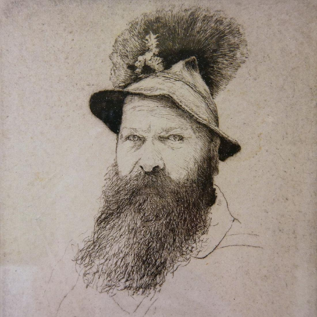 """L.N. VOGEL, ETCHING ON PAPER """"BUST OF A MAN"""" - 1936 - 2"""