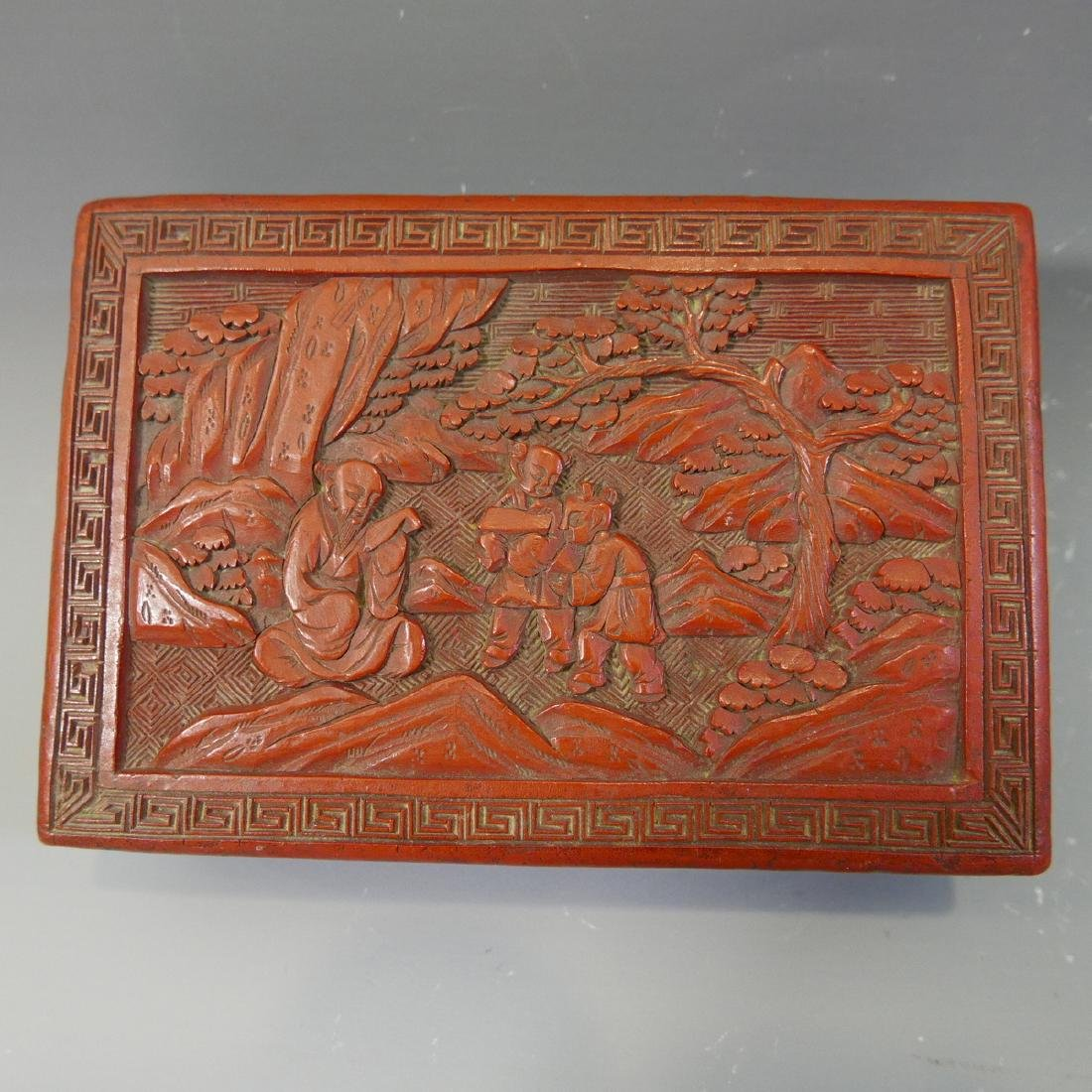 ANTIQUE CHINESE CINNABAR CARVED RED LACQUER  BOX - 19TH - 2
