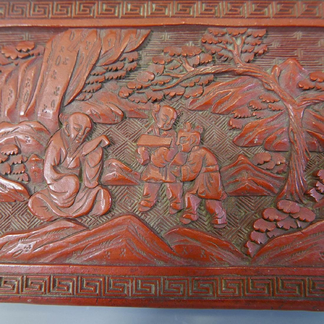 ANTIQUE CHINESE CINNABAR CARVED RED LACQUER  BOX - 19TH - 3