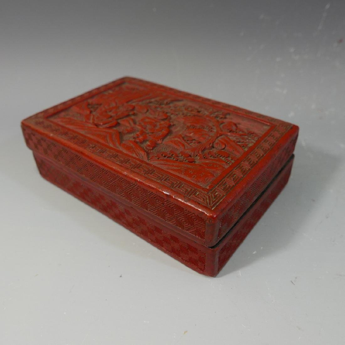 ANTIQUE CHINESE CINNABAR CARVED RED LACQUER  BOX - 19TH - 4