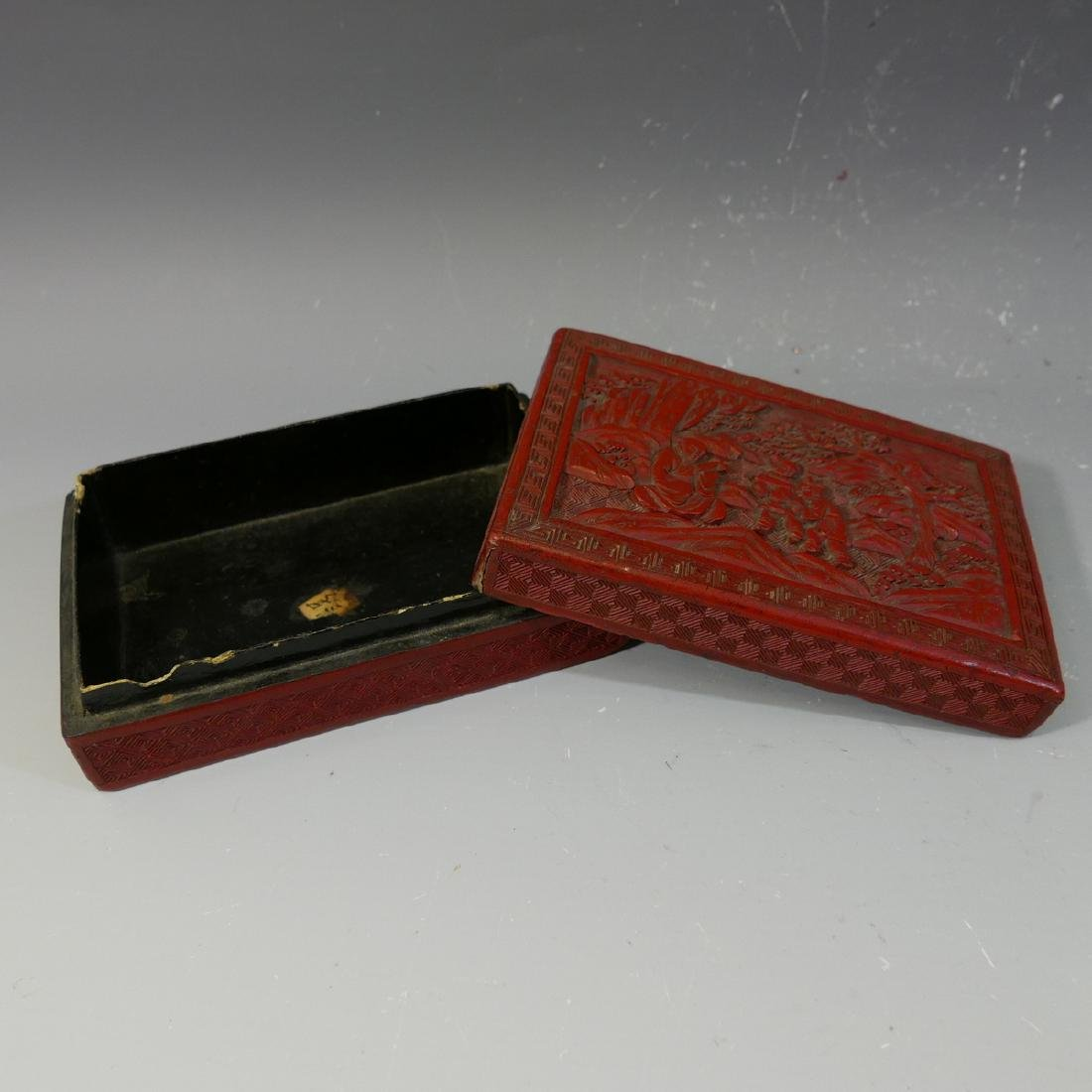ANTIQUE CHINESE CINNABAR CARVED RED LACQUER  BOX - 19TH - 5