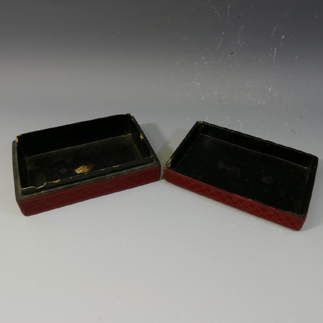 ANTIQUE CHINESE CINNABAR CARVED RED LACQUER  BOX - 19TH - 6