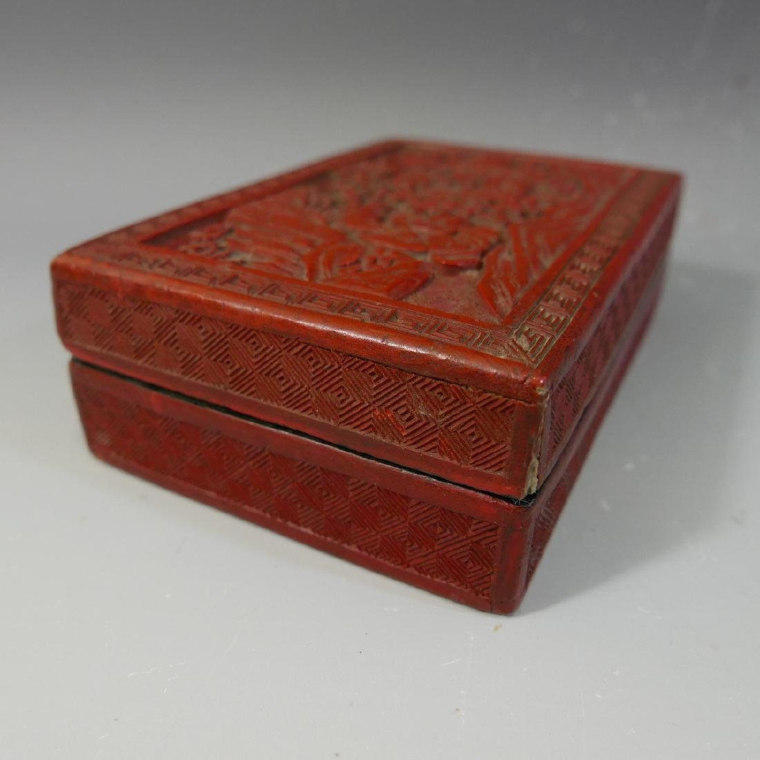 ANTIQUE CHINESE CINNABAR CARVED RED LACQUER  BOX - 19TH - 9
