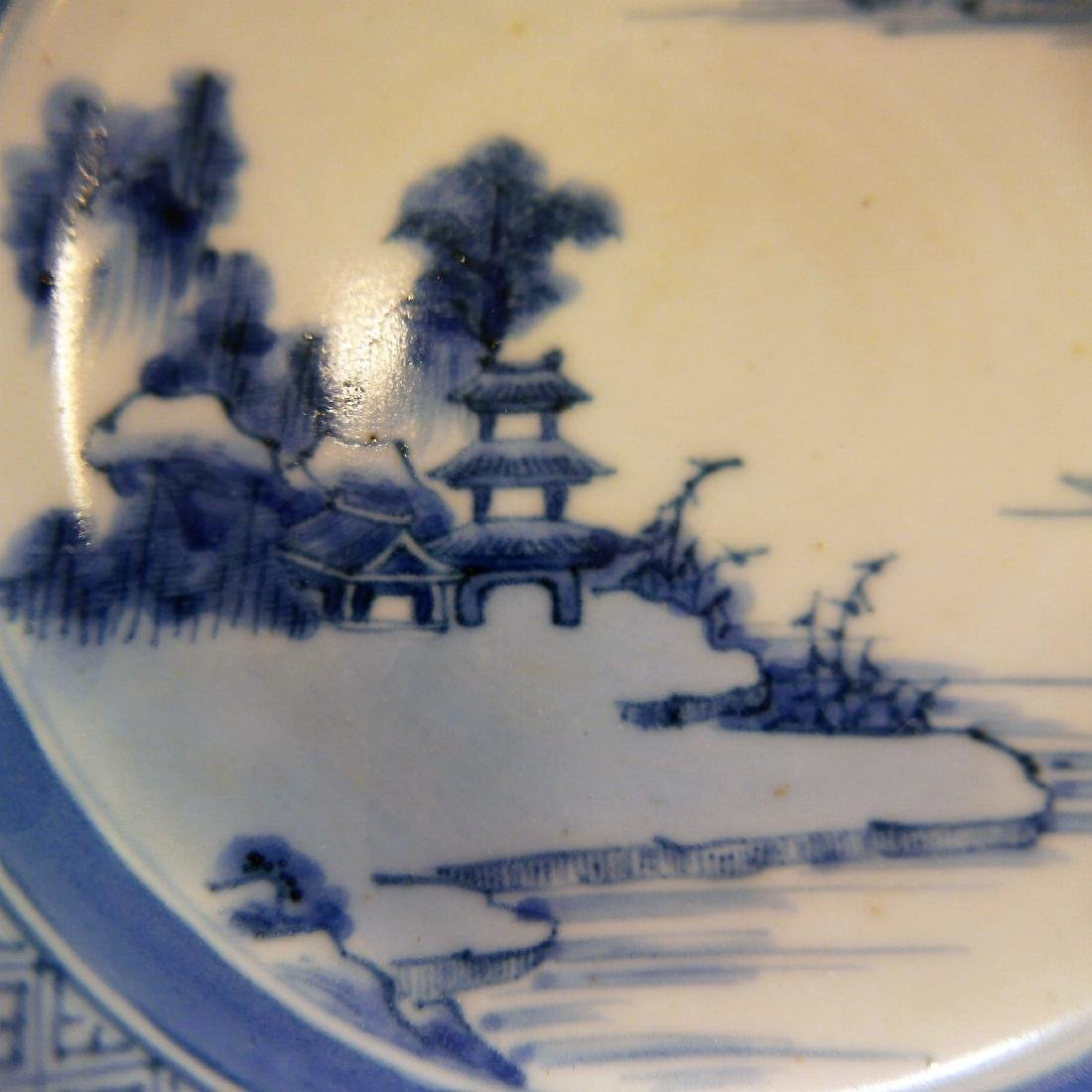 CHINESE ANTIQUE BLUE WHITE PORCELAIN PLATE - 18TH - 4