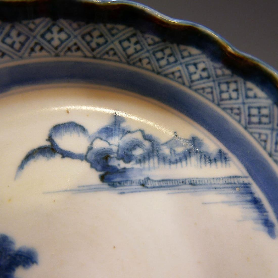 CHINESE ANTIQUE BLUE WHITE PORCELAIN PLATE - 18TH - 5