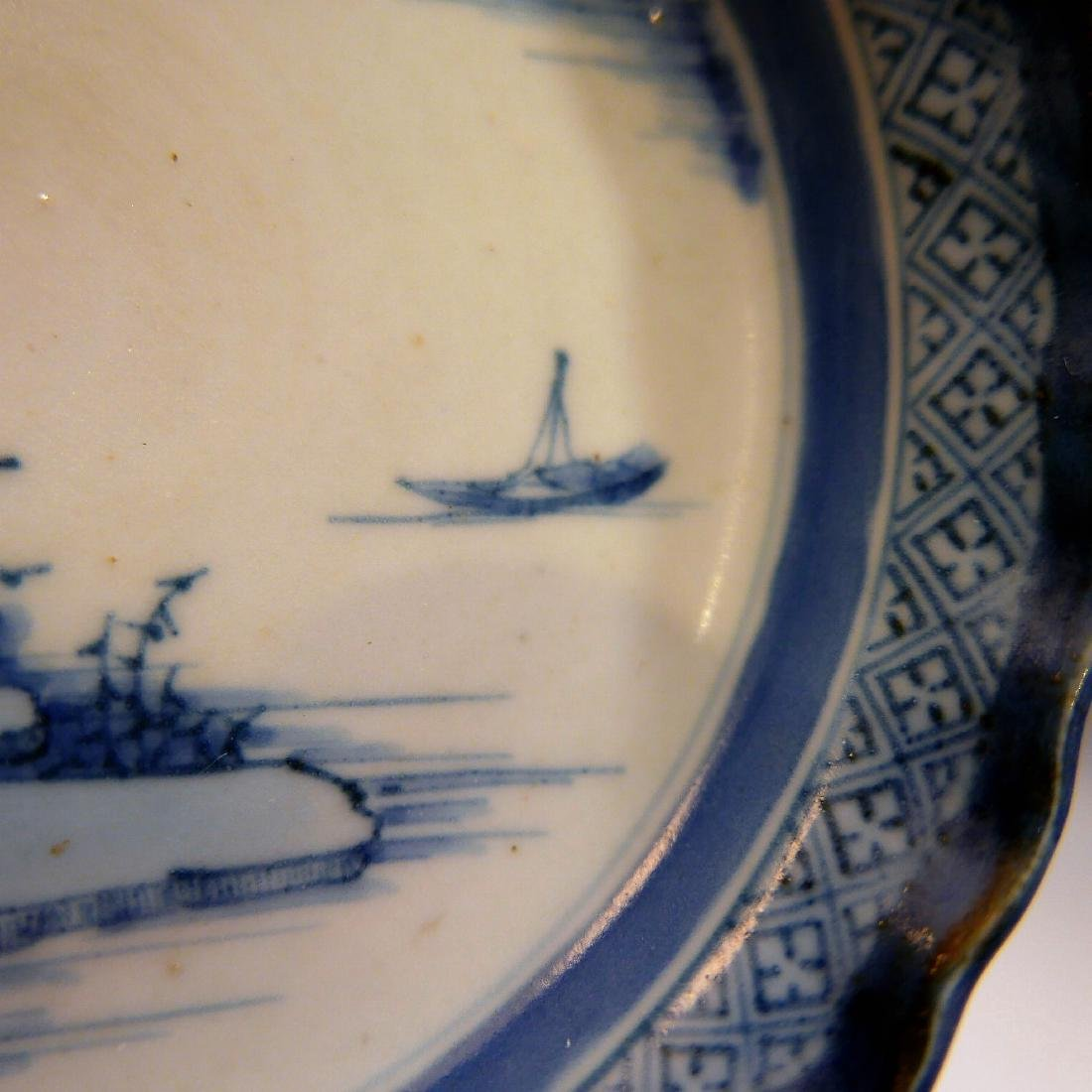 CHINESE ANTIQUE BLUE WHITE PORCELAIN PLATE - 18TH - 6