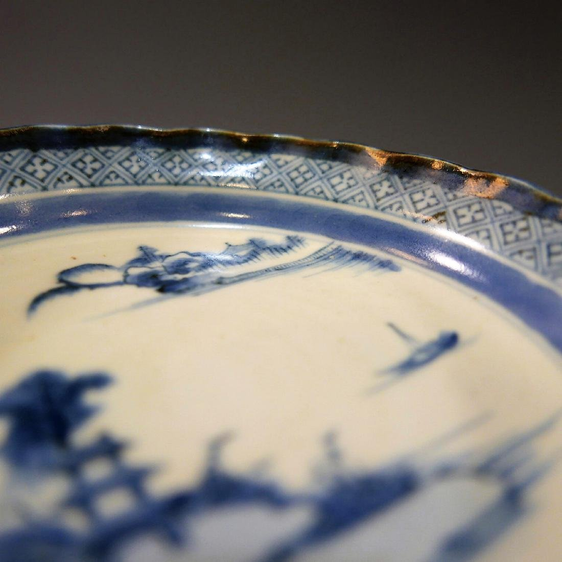 CHINESE ANTIQUE BLUE WHITE PORCELAIN PLATE - 18TH - 7