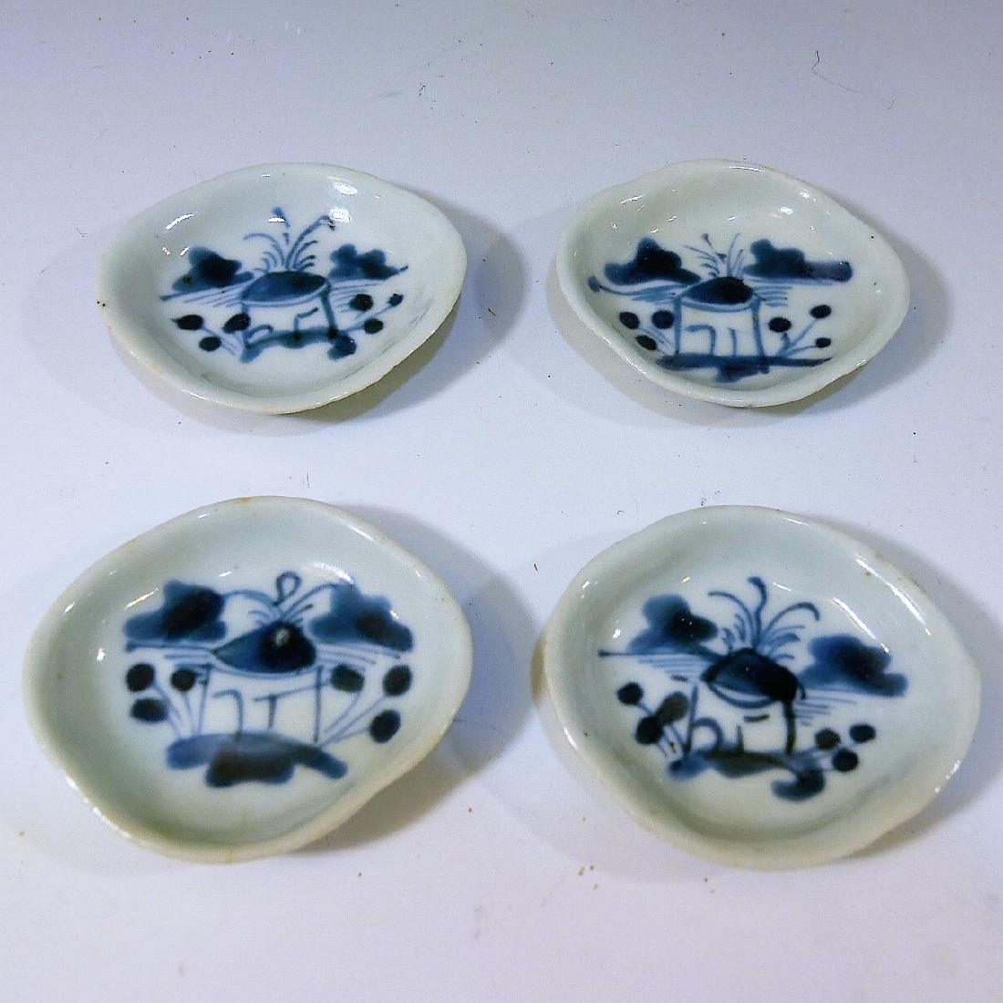 4 CHINESE ANTIQUE BLUE WHITE PORCELAIN DISH - QING