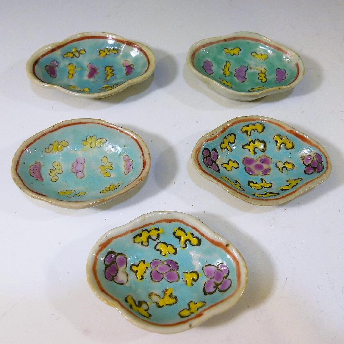 5 CHINESE ANTIQUE FAMILLE ROSE PORCELAIN DISH - QING