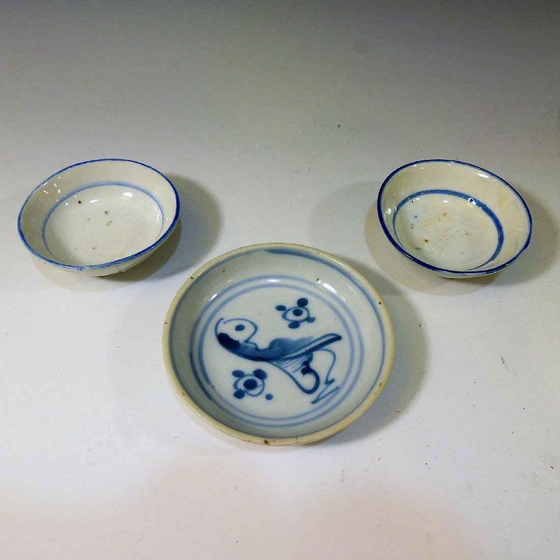 3 CHINESE ANTIQUE BLUE WHITE PORCELAIN DISH - QING
