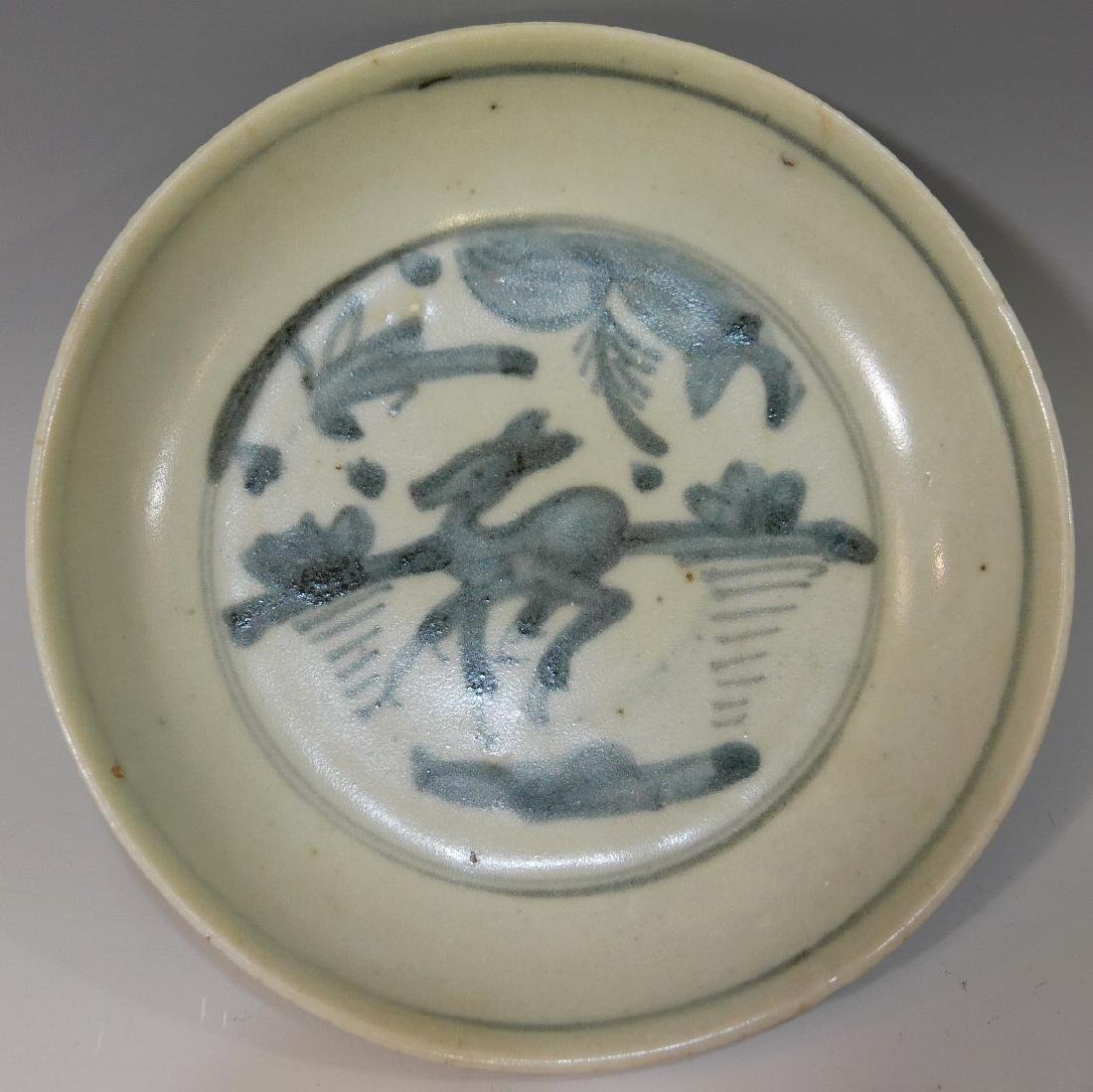 CHINESE ANTIQUE BLUE WHITE PORCELAIN DISH - MING