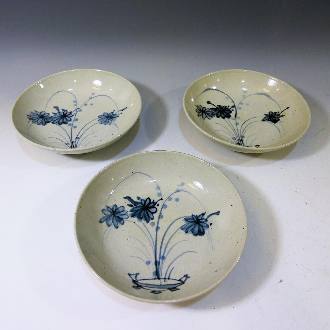 3 CHINESE ANTIQUE BLUE WHITE PORCELAIN DISH - MING