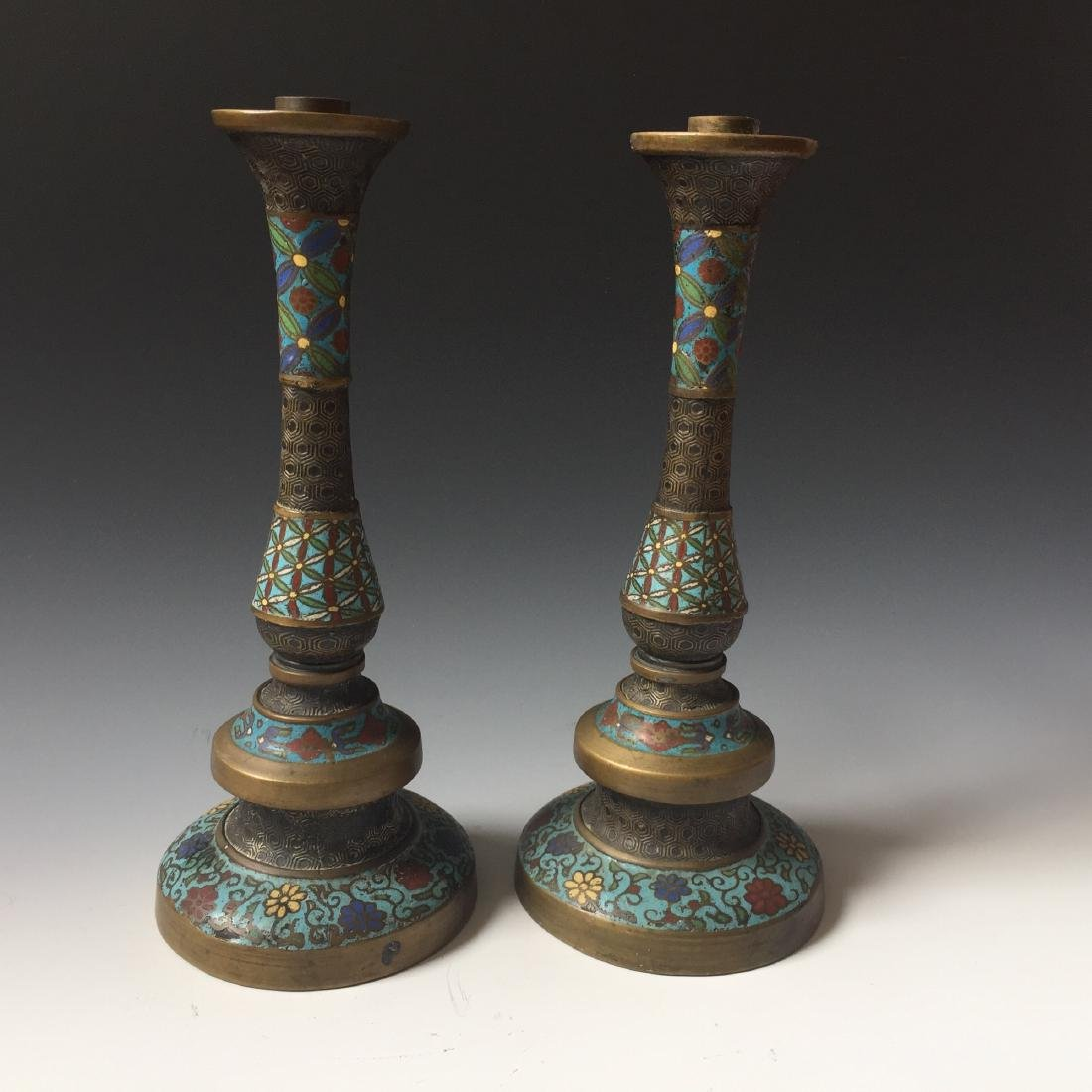 A PAIR CHINESE ANTIQUE CLOISONNE ENAMEL CANDEL HOLDER,