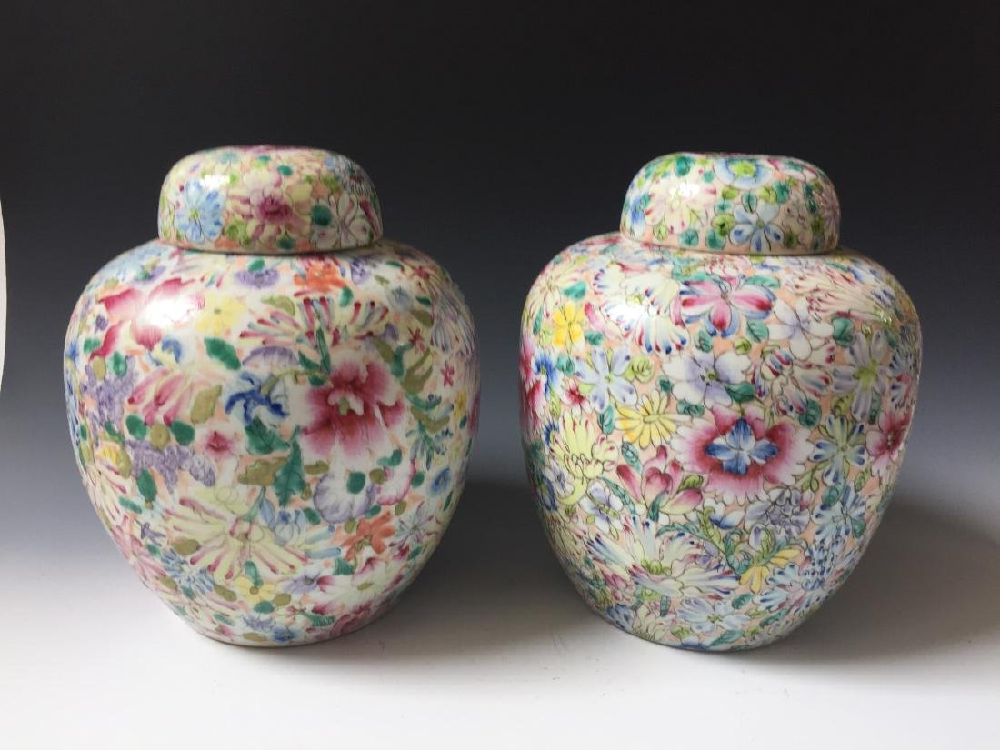 A PAIR OF CHINESE ANTIQUE FAMILLE ROSE PORCELAIN JARS - 3