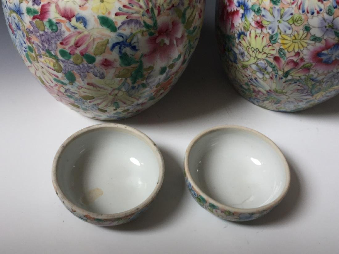 A PAIR OF CHINESE ANTIQUE FAMILLE ROSE PORCELAIN JARS - 5