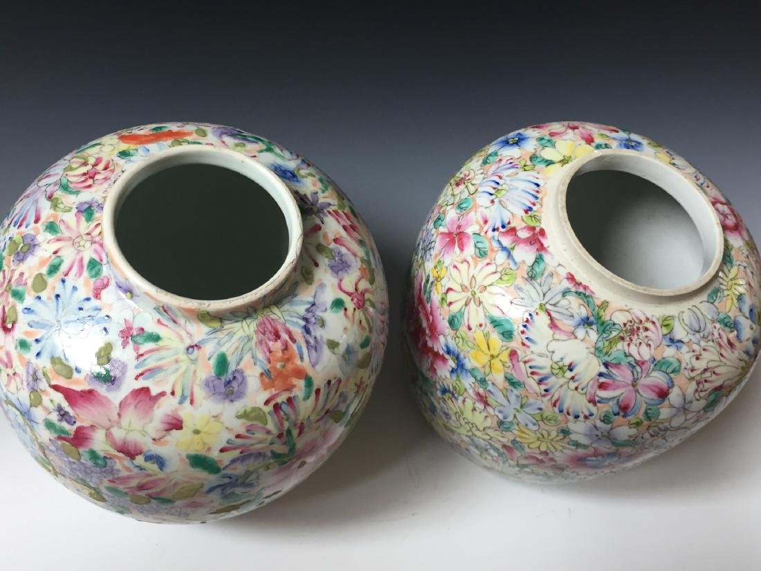 A PAIR OF CHINESE ANTIQUE FAMILLE ROSE PORCELAIN JARS - 6