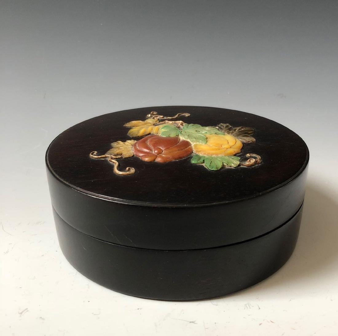 CHINESE ANTIQUE ZITAN WOOD BOX - 2