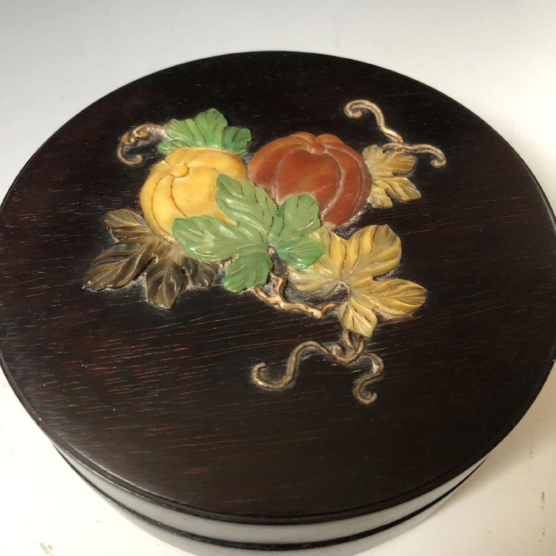 CHINESE ANTIQUE ZITAN WOOD BOX - 3
