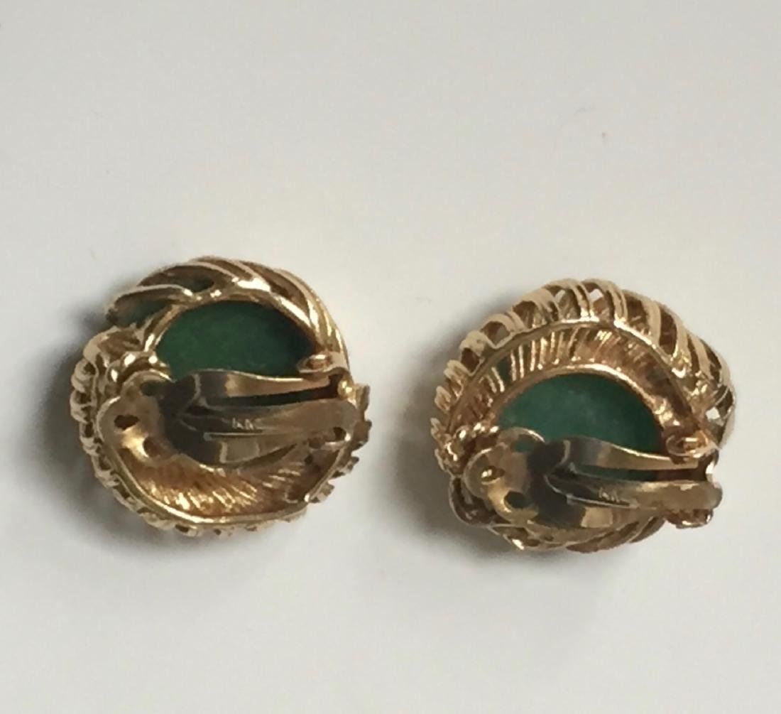 A FINE 14K GOLD CHINESE JADEITE EARRING - 2