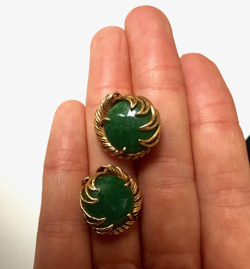 A FINE 14K GOLD CHINESE JADEITE EARRING - 3