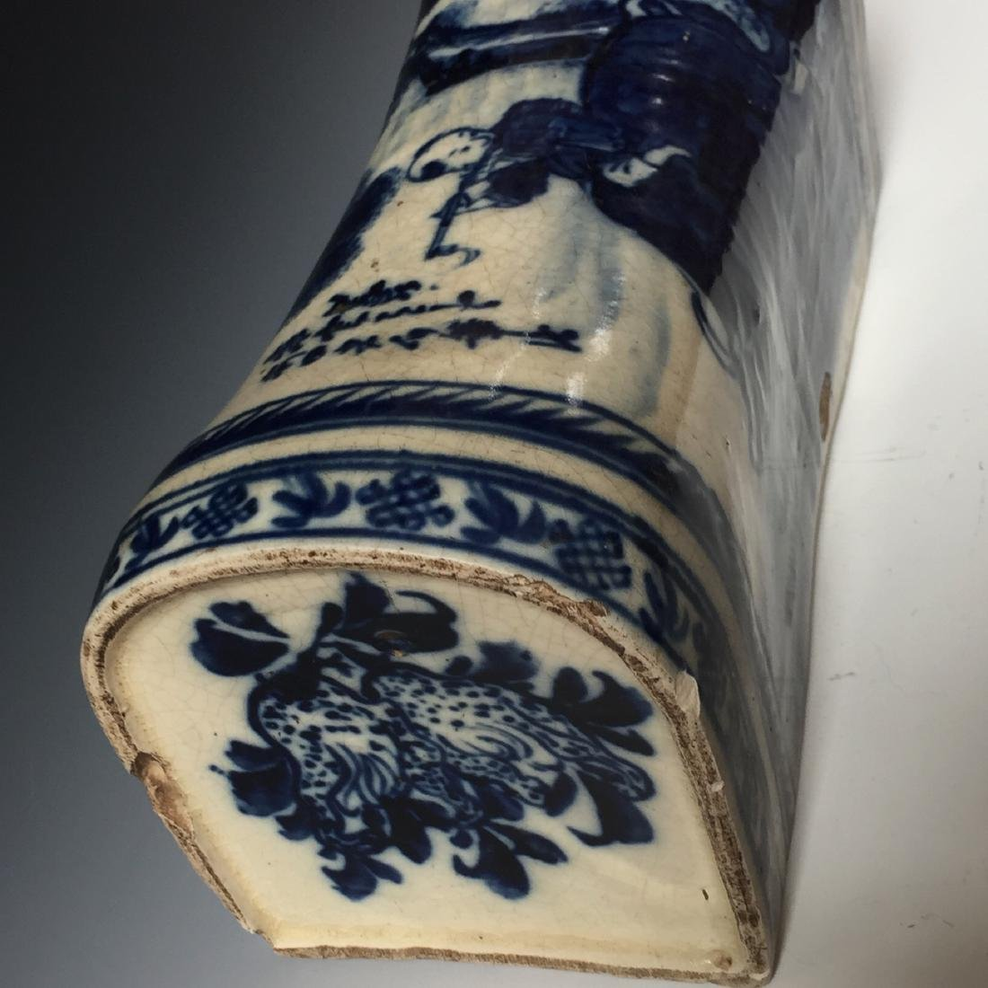 A CHINESE ANTIQUE BLUE AND WHITE PORCELAIN PILLOW, - 3