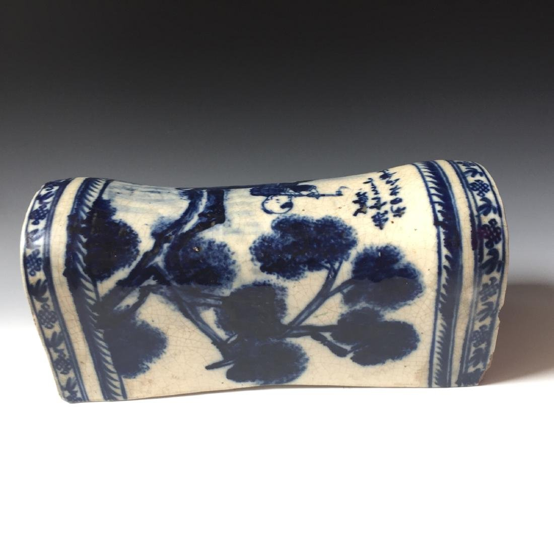 A CHINESE ANTIQUE BLUE AND WHITE PORCELAIN PILLOW, - 4