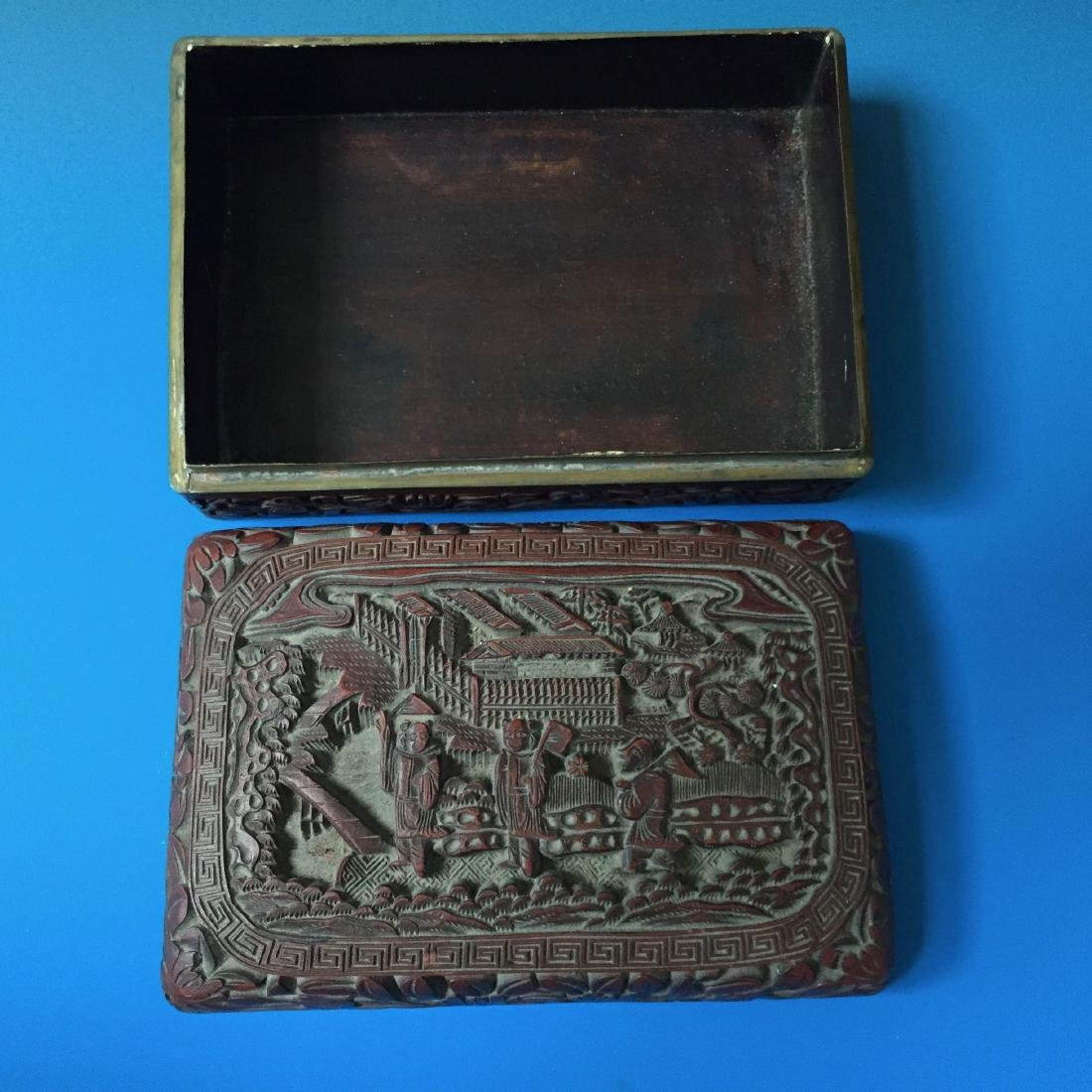 A BEAUTIFUL CHINESE ANTIQUE LACQUER BOX SEAL MARK OF - 3
