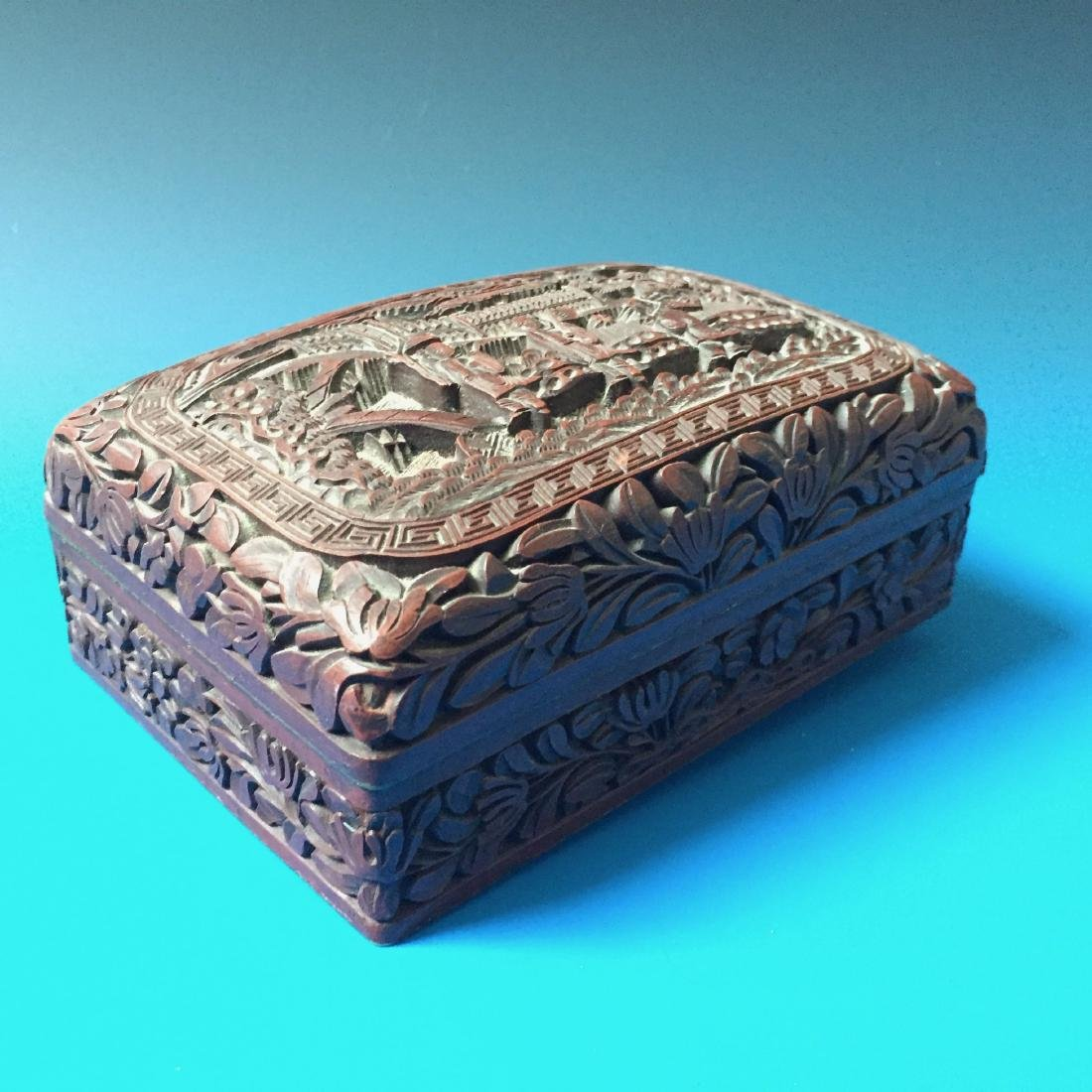 A BEAUTIFUL CHINESE ANTIQUE LACQUER BOX SEAL MARK OF - 4