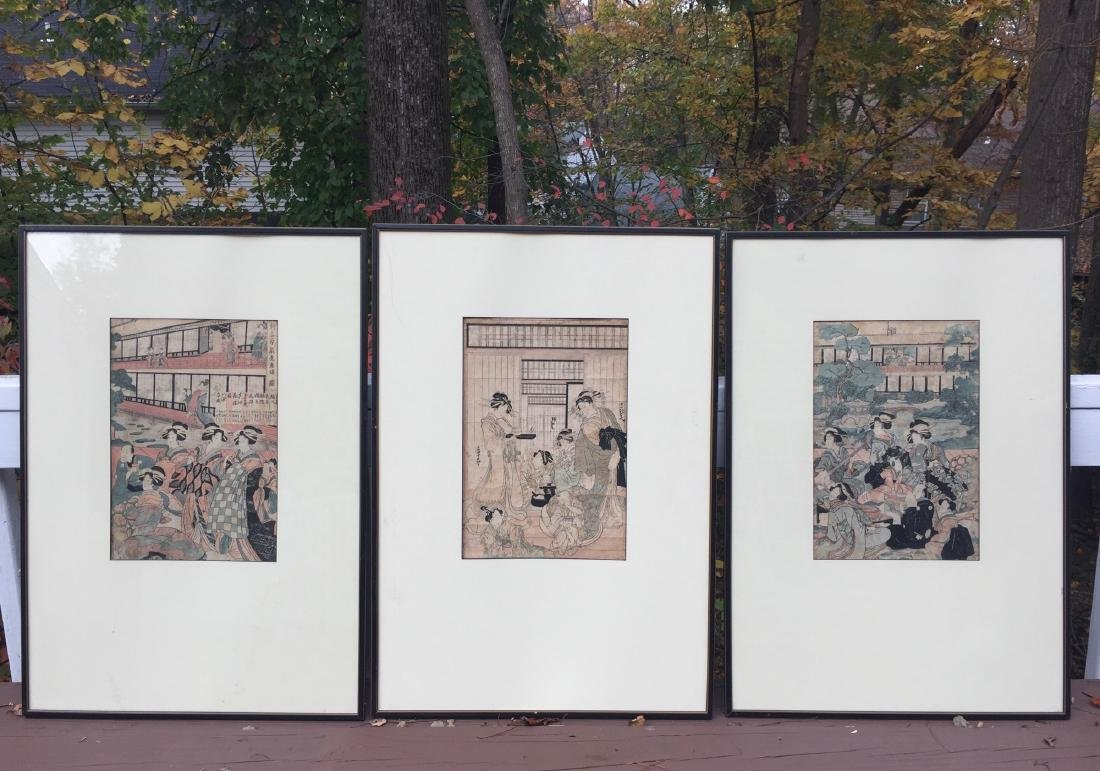 THREE PIECES OF OID JAPANESE WOODBLOCK PRINT