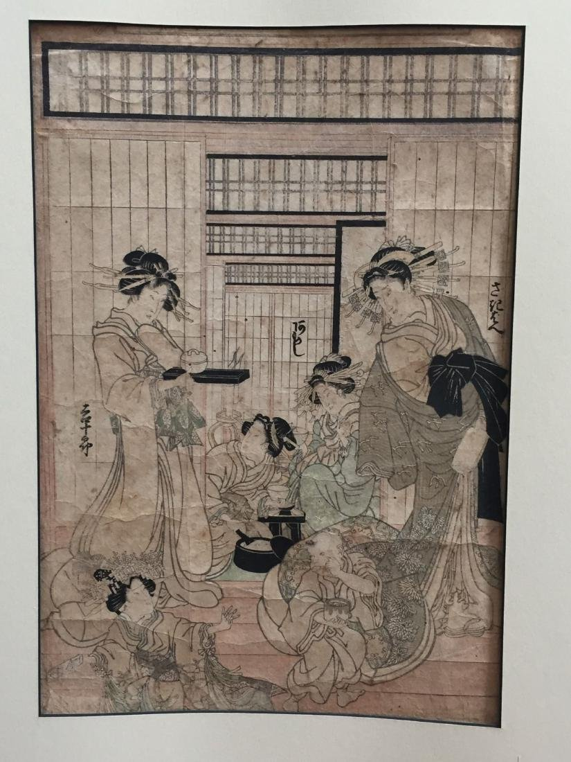 THREE PIECES OF OID JAPANESE WOODBLOCK PRINT - 2