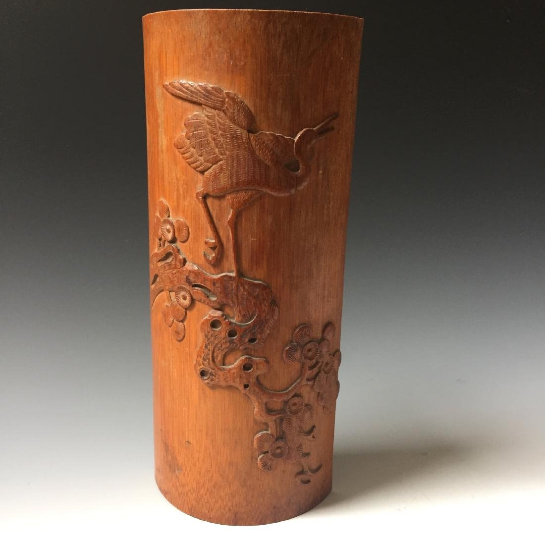 CHINESE ANTIQUE BAMBOO CARVED BIGE