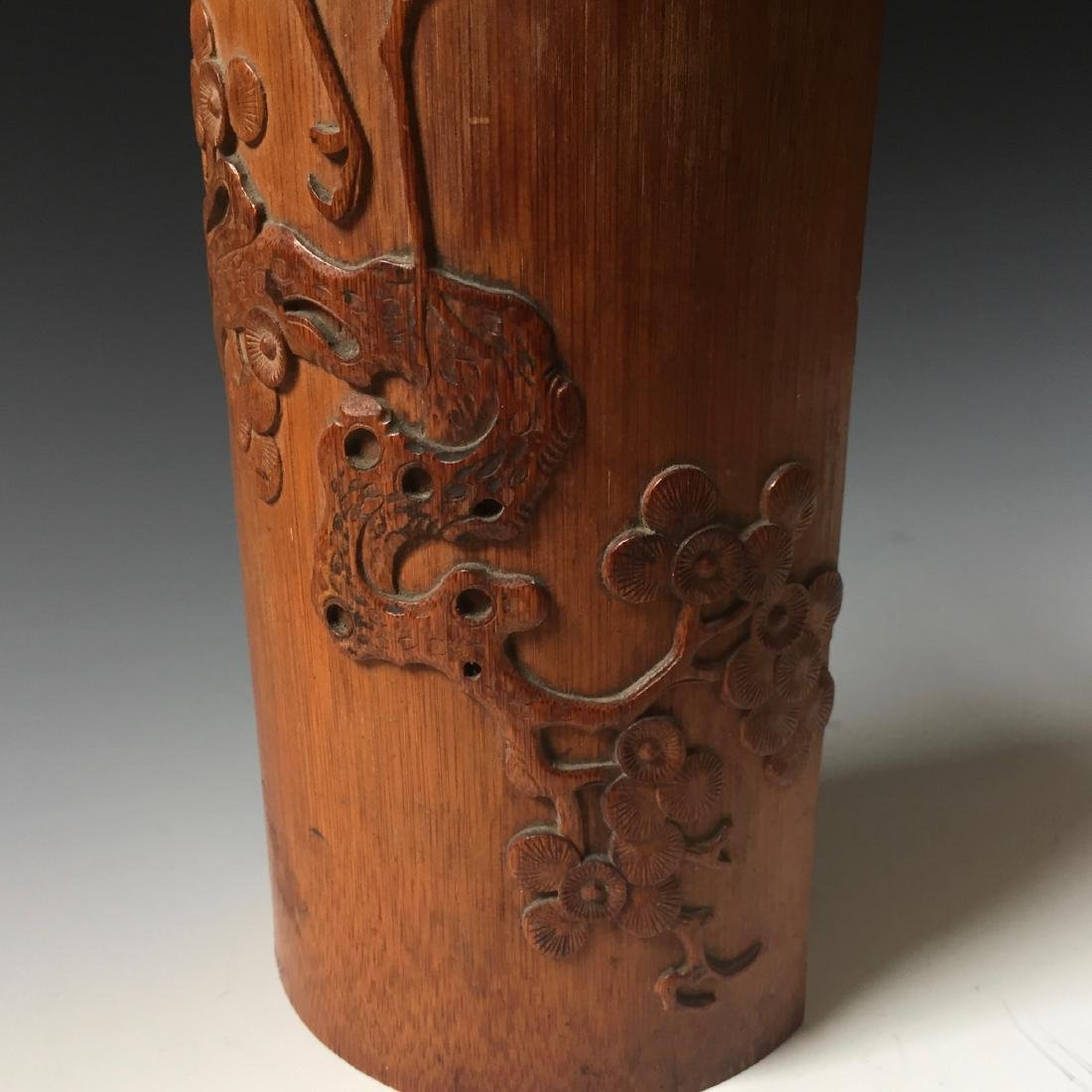 CHINESE ANTIQUE BAMBOO CARVED BIGE - 3