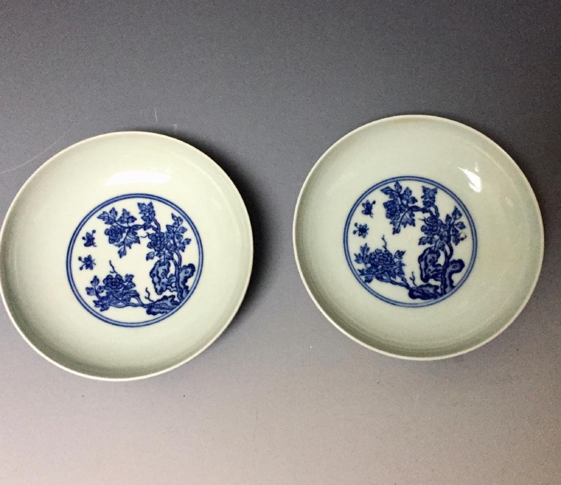 A PAIR OF CHINESE ANTIQUE BLUE AND WHITE PLATES ,