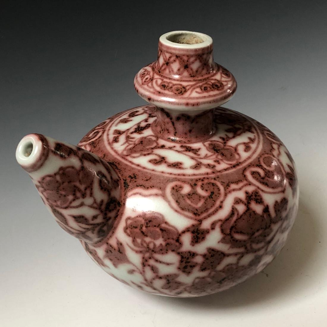 A CHINESE ANTIQUE UNDERGLAZE-RED  POT - 4