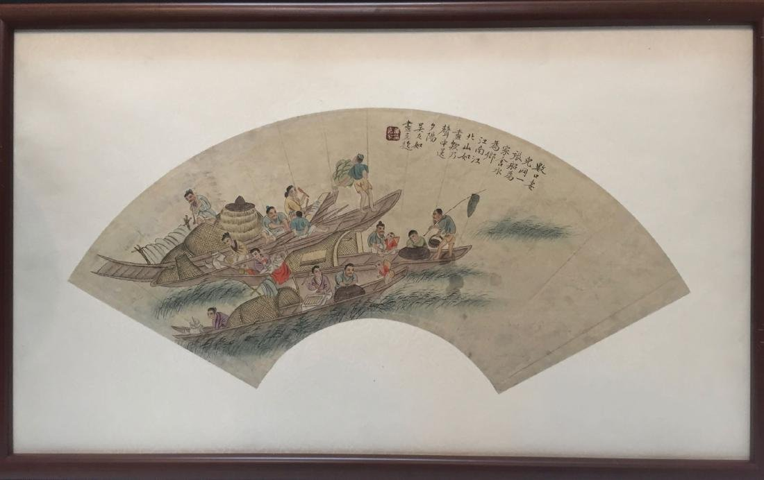 CHINESE ANTIQUE PRINTING WITH FRAME.SIGNED BY WU YOURU